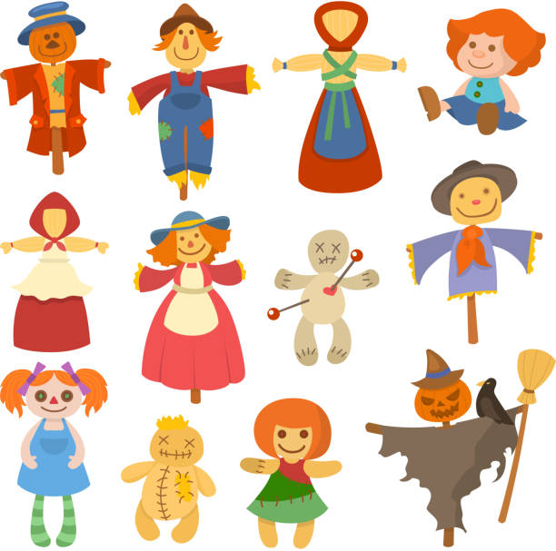 different dolls toy character game dress and farm scarecrow rag-doll vector illustration - kukiełka stock illustrations