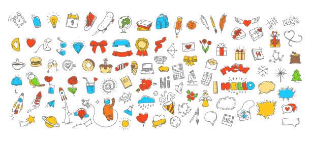 verschiedene doodle-vektor-symbole gesetzt - schulbedarfskuchen stock-grafiken, -clipart, -cartoons und -symbole