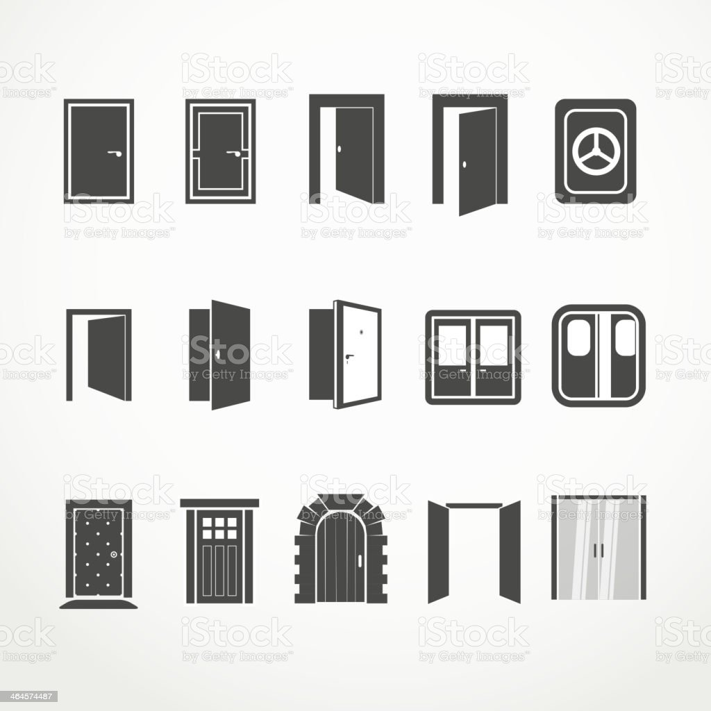 Different doors web icons set vector art illustration