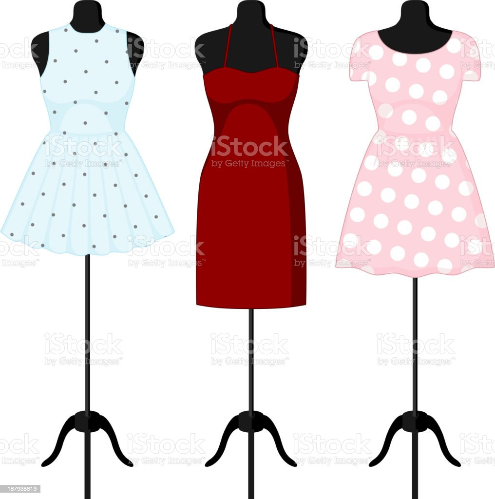 Different dresses on a mannequin vector art illustration