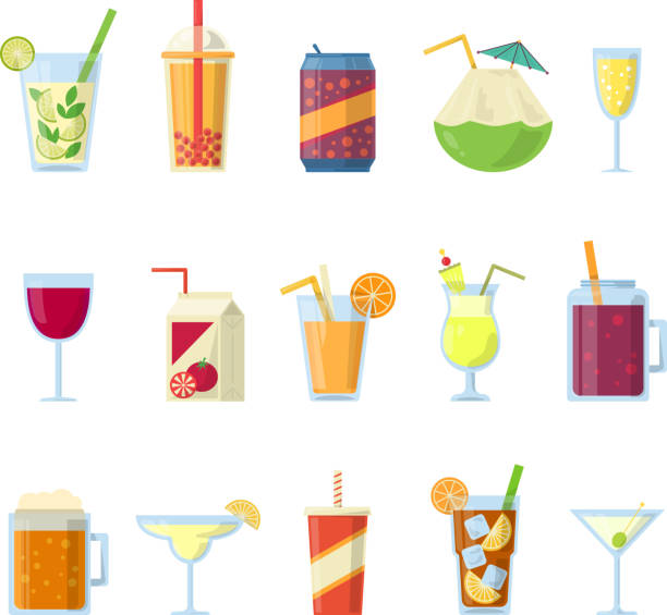 stockillustraties, clipart, cartoons en iconen met verschillende drankjes in flessen en glazen. vector set isoleren op wit - punch