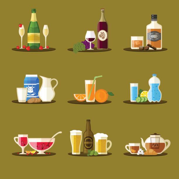ilustrações, clipart, desenhos animados e ícones de diferentes bebidas com garrafas, copos e petiscos. champanhe, vinho, whisky, leite, suco, água, soco, cerveja, chá. - tea drinks