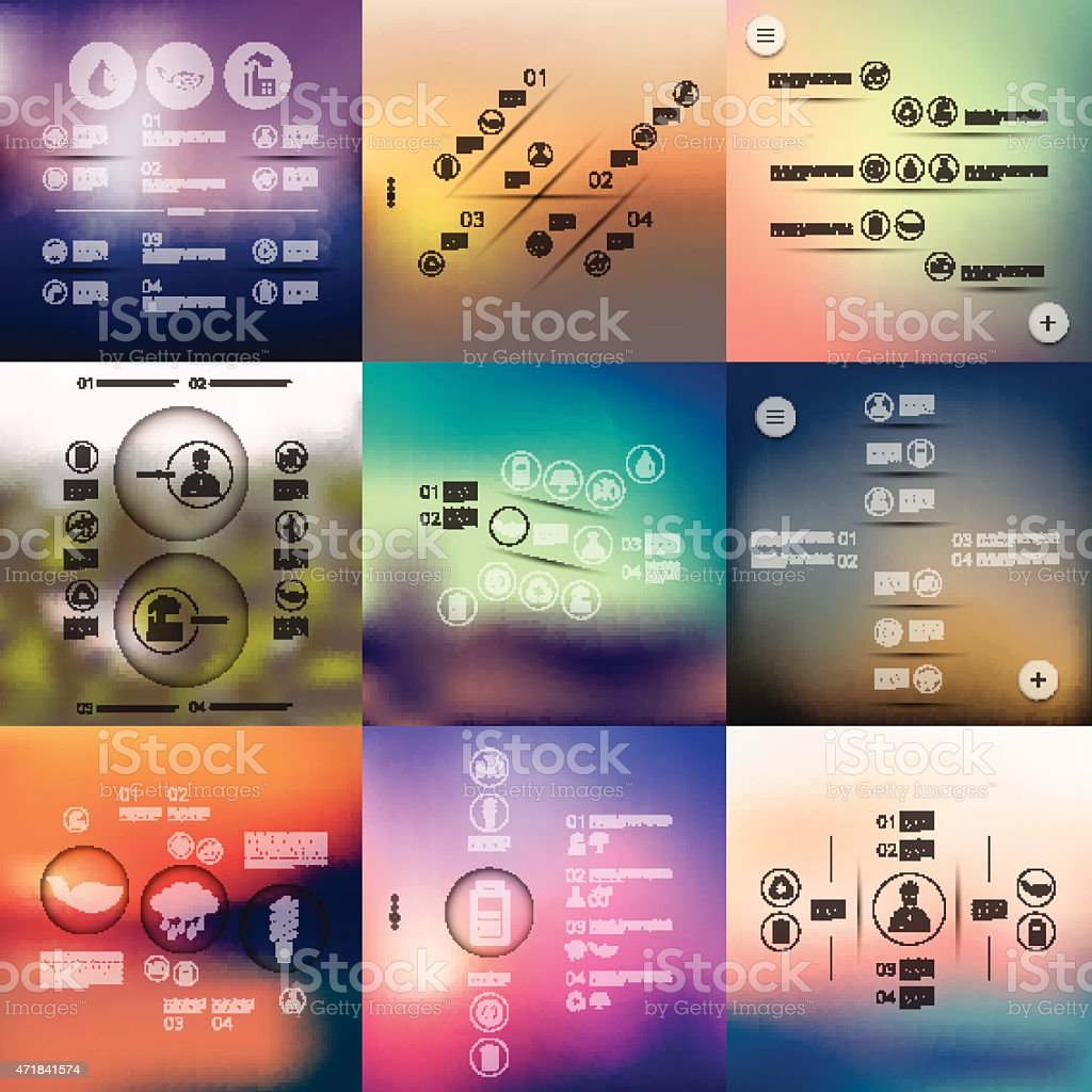 Different ecology infographics with background out of focus vector art illustration