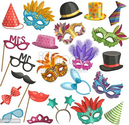 Different elements for carnival. Funny masks for masquerade. Vector illustrations in cartoon style. Masquerade mask, festival and carnival costume