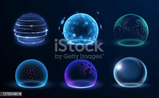 istock Different energy protection spheres set 1270243018
