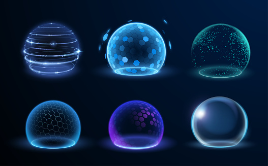 Different energy protection spheres set in vector