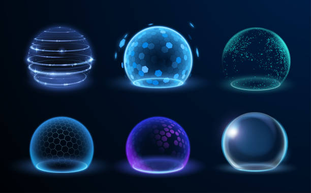 Different energy protection spheres set Different energy protection spheres set in vector antiviral drug stock illustrations