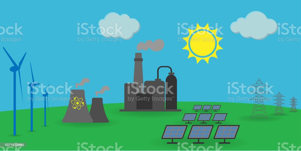 wind, solar, atomic energy, electrical energy, fossil fuel power...