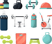 Different equipment for gym. Weight, gymnastic ball, dumbbells and other tools for powerlifting or bodybuilding. Fitness and sport, dumbbell and weight equipment, vector illustration