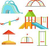 Different equipment on playground for children games. Vector background