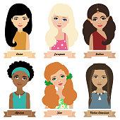 Different ethnic group children. Set 1, girls. Colorful vector illustration
