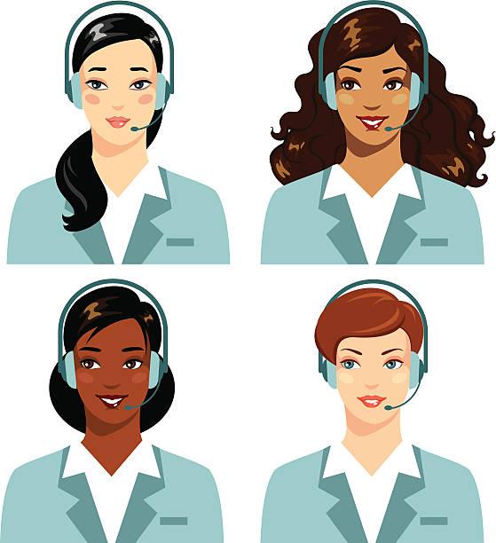 オペレータの異なる民族女性のオンライン顧客サポートコールセンター - オペレーター 日本人点のイラスト素材/クリップアート素材/マンガ素材/アイコン素材