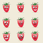 Different expressions of strawberry fruits.