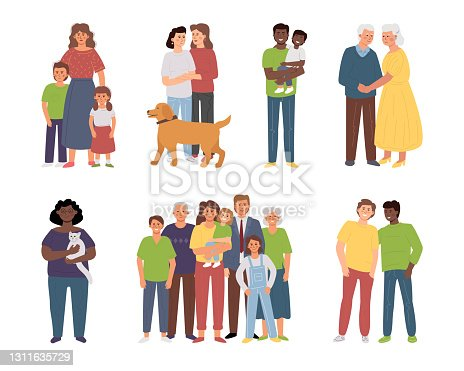 Different families: single parents, large families, elderly couple, LGBT partners, lonely woman with a pet. Diversity vector characters.