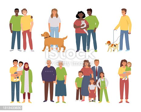 Different families, various couples close friends, single parent, LGBT partners.