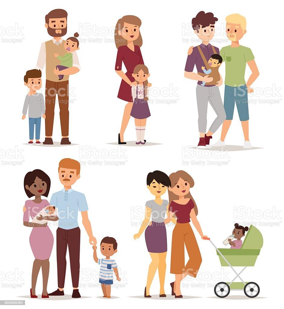 Familia ilustración de vectores de diferentes. - ilustración de arte vectorial