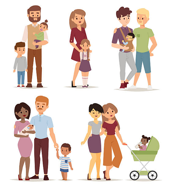 Different family vector illustration. Different gay family, different kind of families. Different family special needs children and different family blended couple. Different family lifestyle baby husband kid and friendship parents set. same sex couples stock illustrations