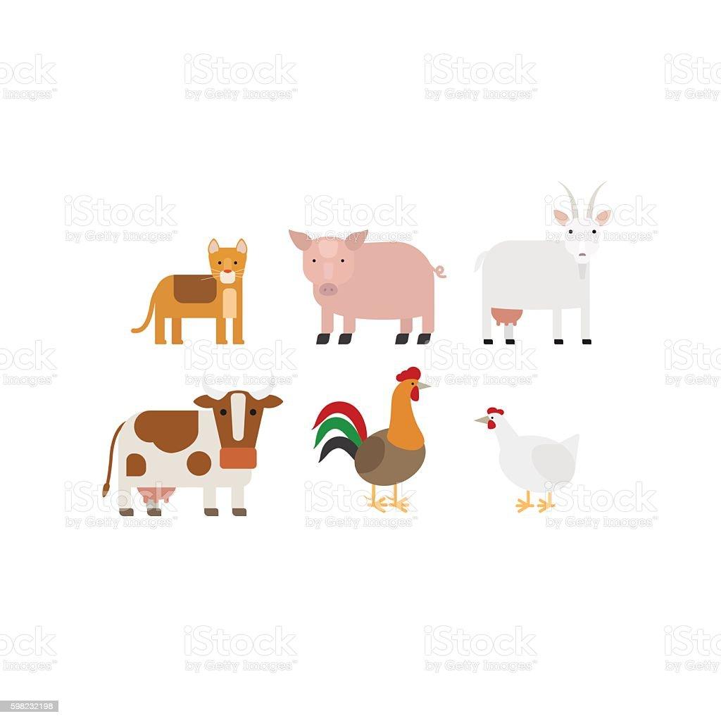Different farm animals icons set ilustração de different farm animals icons set e mais banco de imagens de animal royalty-free