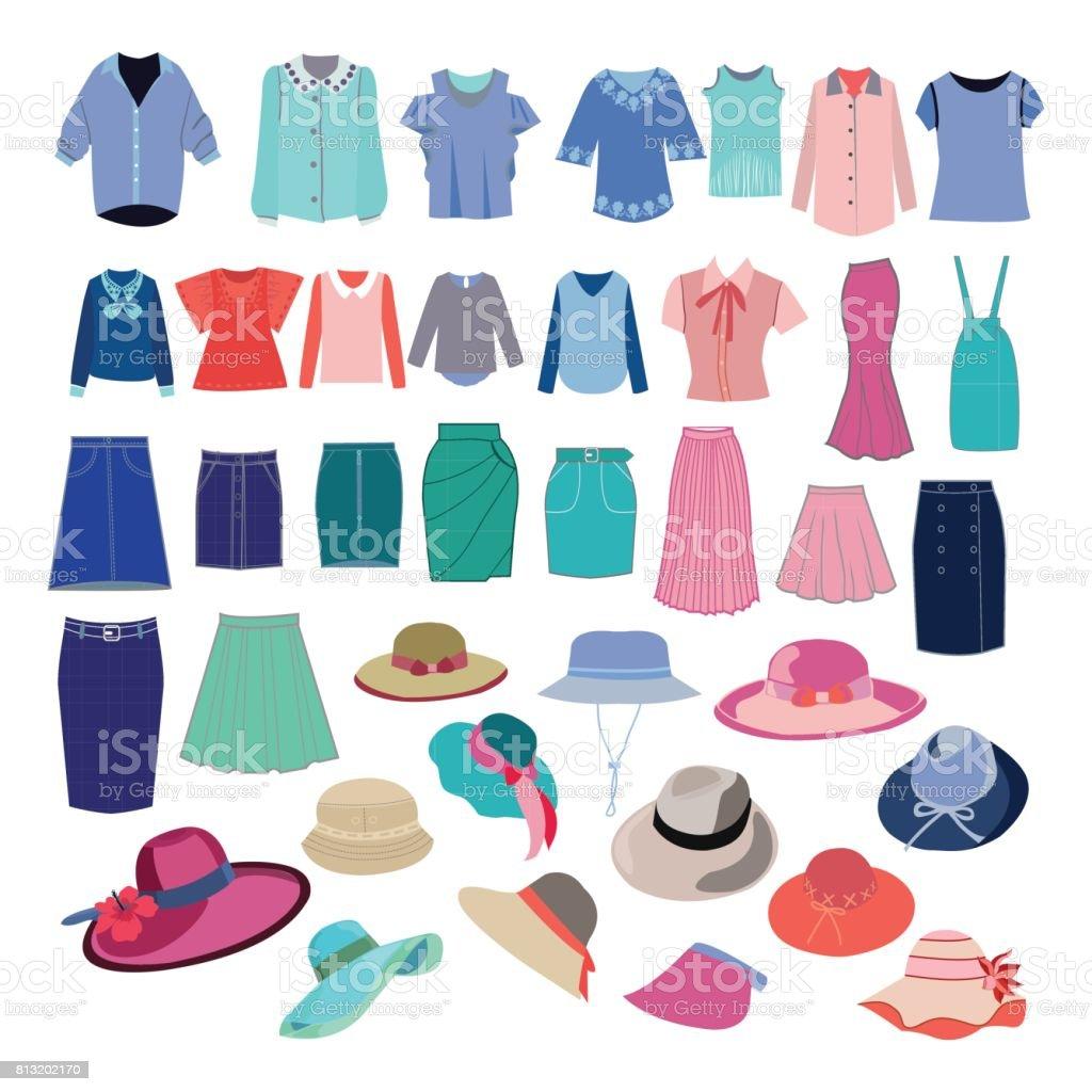 colección de tela y accesorios de moda diferentes. - ilustración de arte vectorial