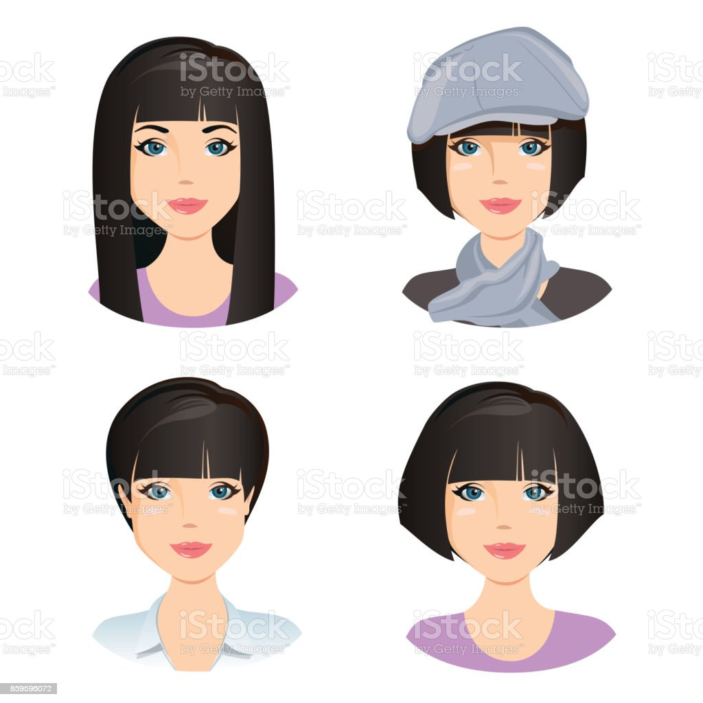 Different female hairstyles. For the girl, young adult, woman with black hair vector art illustration