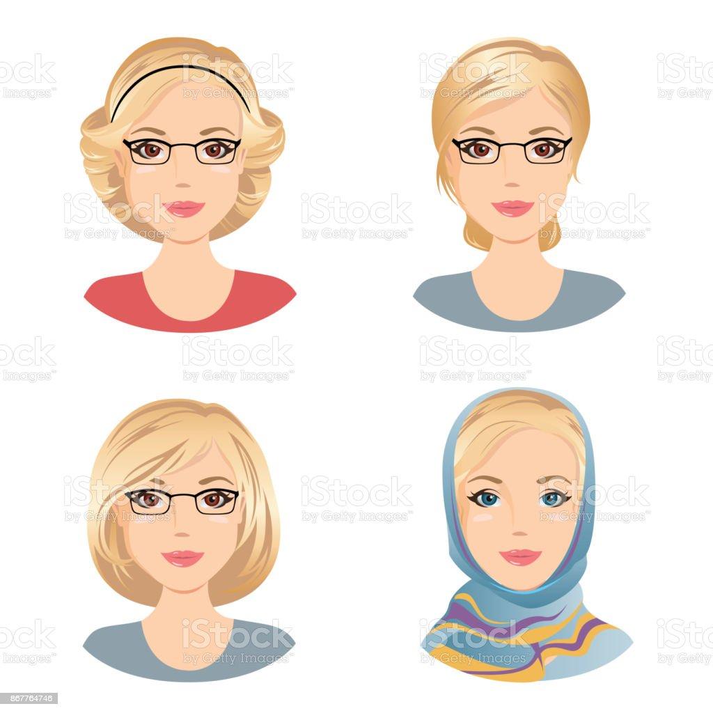 Verschiedene Weibliche Frisuren Für Die Frau Mit Blonden Haaren Mittlere  Frau Im Alter Von Stock Vektor Art und mehr Bilder von Avatar