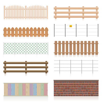 Different fences like wooden, garden, electric, picket, pasture, wire fence, wall, barbwire and other railings. Isolated vector illustration on white background.