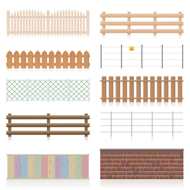 Different fences like wooden, garden, electric, picket, pasture, wire fence, wall, barbwire and other railings. Isolated vector illustration on white background. vector art illustration