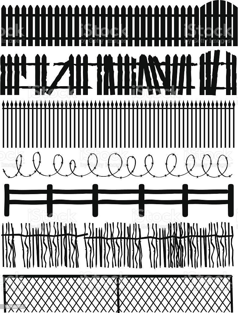 Different Fences vector art illustration