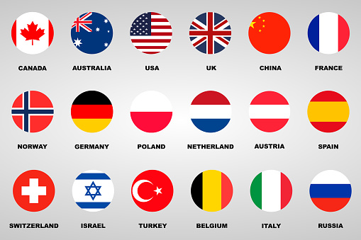 18 different flags countries set