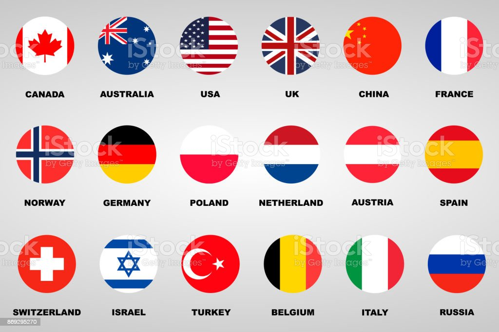 18 different flags countries set vector art illustration