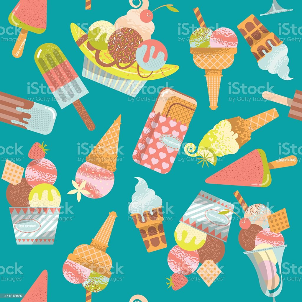 Different flavors of ice cream. Seamless background pattern. vector art illustration