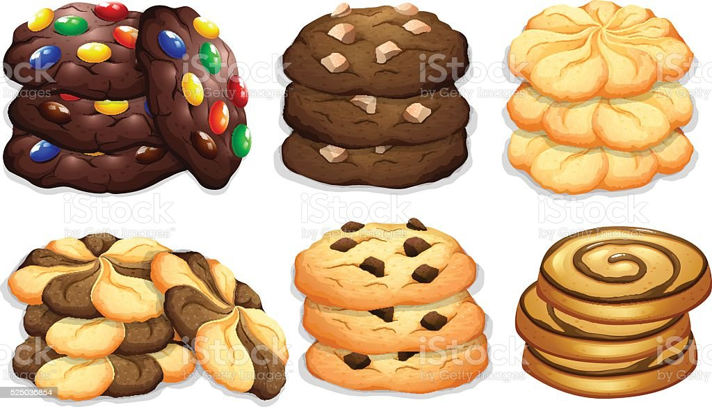 Different flavour of cookies vector art illustration