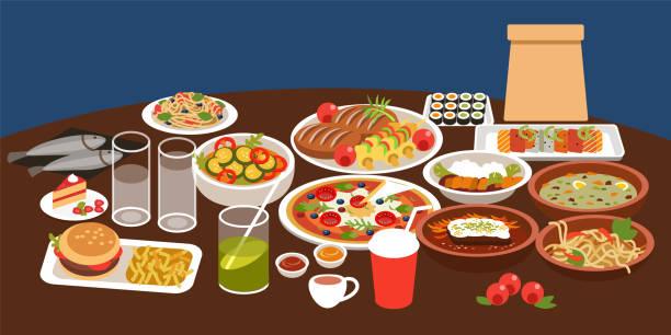stockillustraties, clipart, cartoons en iconen met verschillende gerechten. kleurrijke vector illustratie in platte cartoon stijl - eetklaar