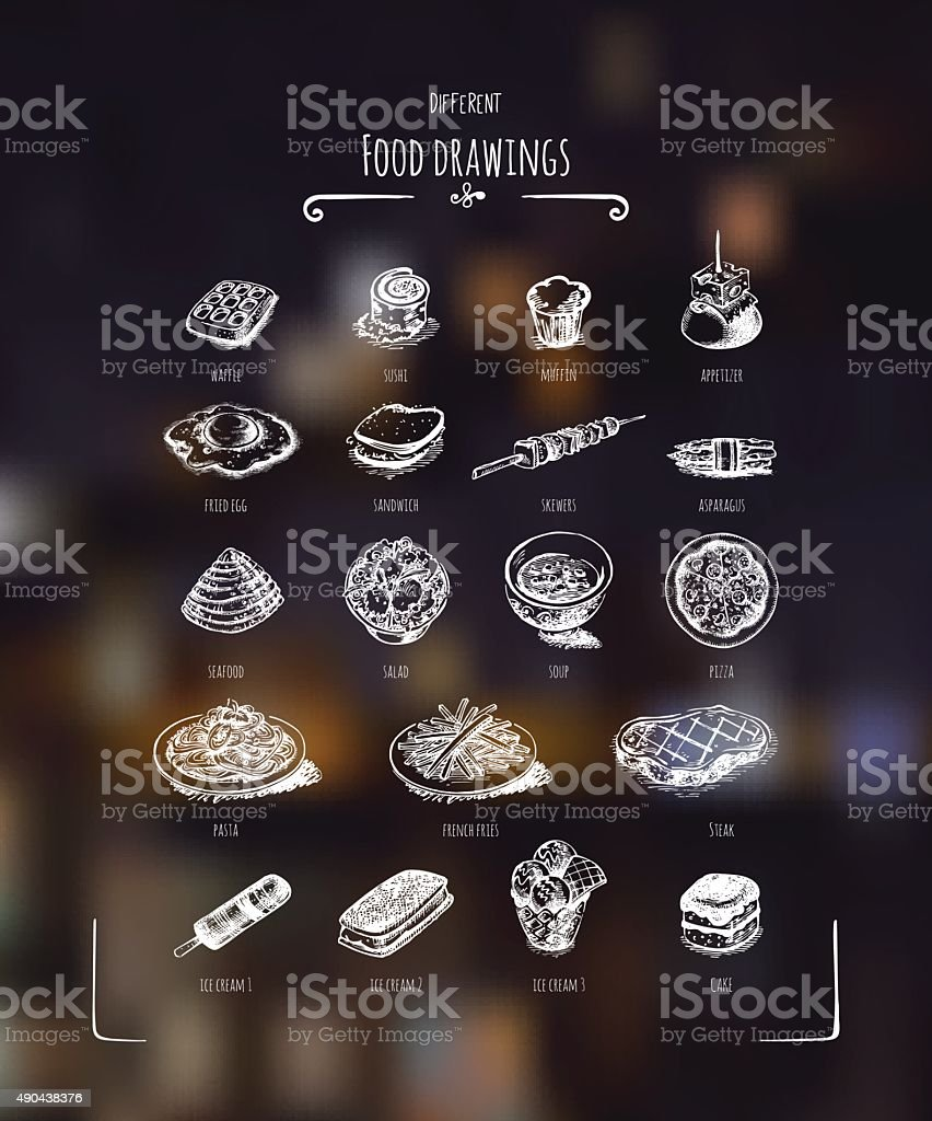Different food drawings. White drawing on dark background vector art illustration