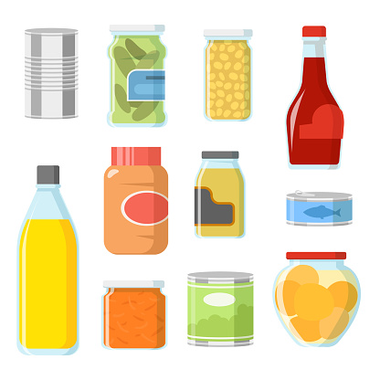 Different food in cans and jars vector illustrations set