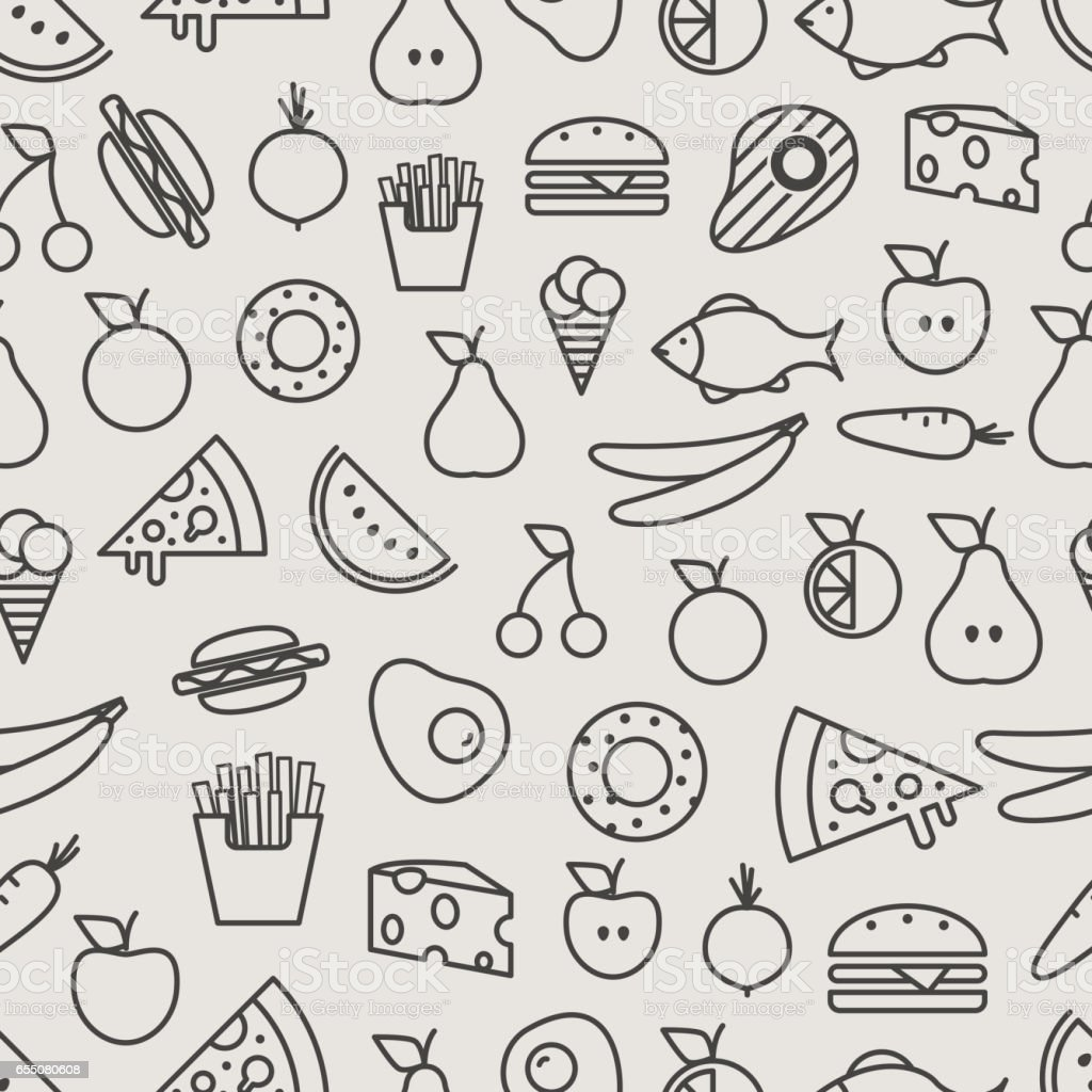 Line Art Food : Different food silhouette icons seamless pattern