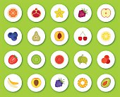 Set of flat icons on round background with shadow. Different fruits and berries. Vector illustration.
