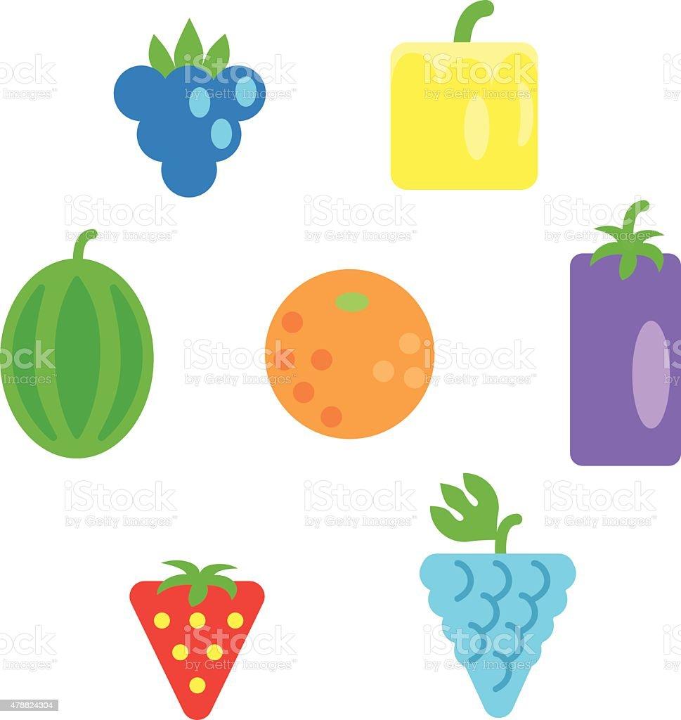 Verschiedene Obst Und Einfachen Formen In Den Farben Des Regenbogens ...