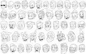 Different funny cartoon black and white characters heads for coloring big vector set