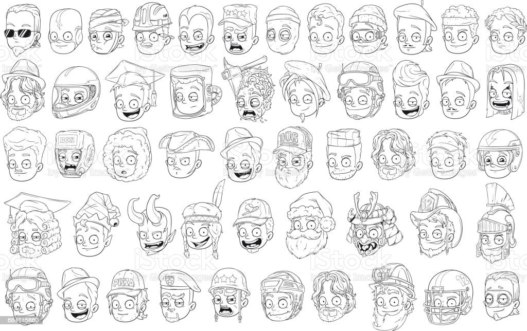 Different funny cartoon black and white characters heads vector art illustration