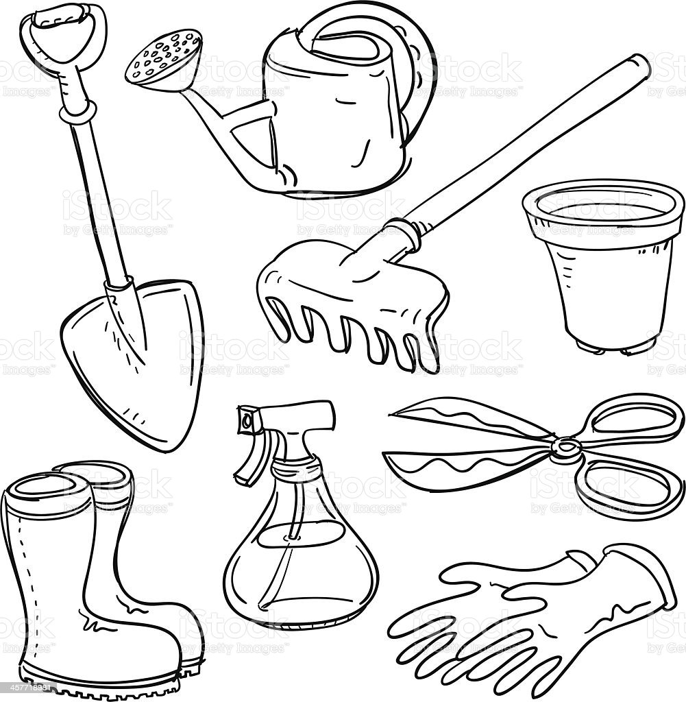 Different gardening tools collage stock vector art for Different tools and equipment in horticulture
