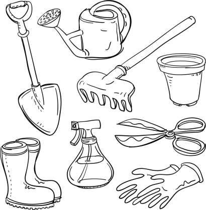 Different gardening tools collage