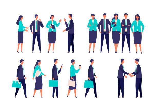 ilustrações, clipart, desenhos animados e ícones de diferentes empresários gestos de terno. - business man