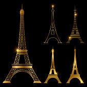 Different golden eiffel tower vector landmark set. Paris symbol icons. France symbol monument in gold style illustration