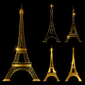 Different golden eiffel tower vector landmark set. Paris symbol icons. France symbol monument in gold style illustration