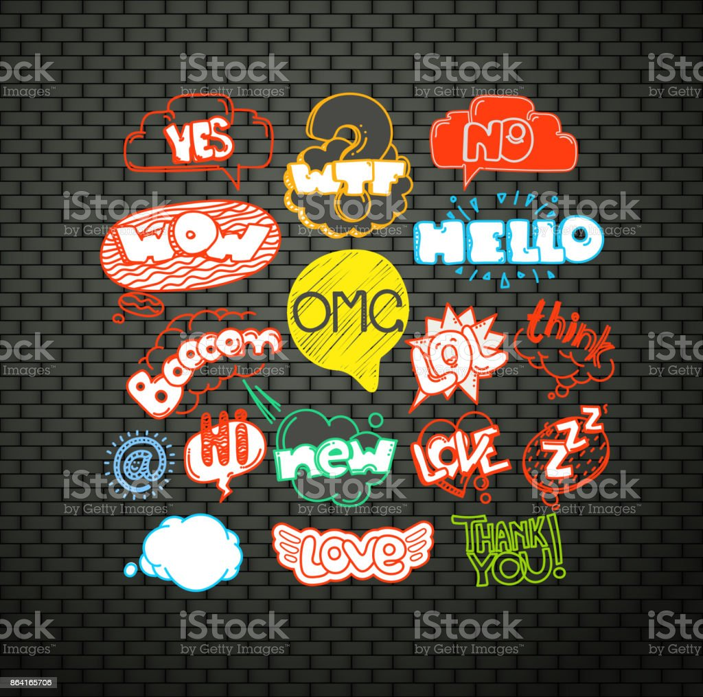 Different graffiti elements on the dark wall royalty-free different graffiti elements on the dark wall stock vector art & more images of awe