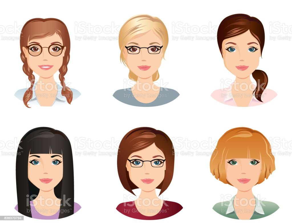 Different hairstyles, female, for the girl, young adult, woman, set 5 vector art illustration