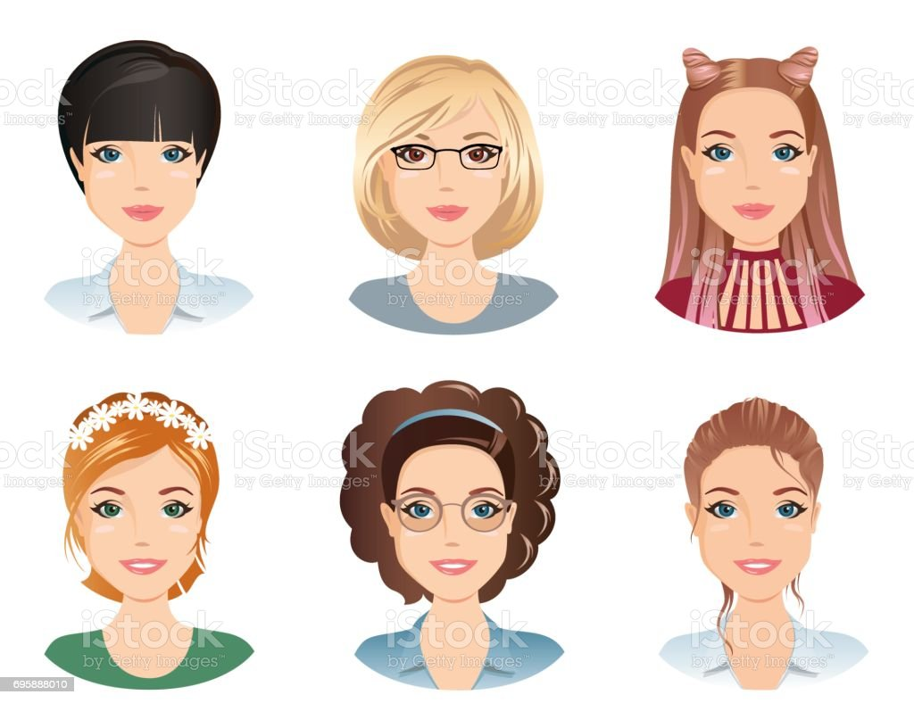 Penteados diferentes, femininos - ilustração de arte em vetor