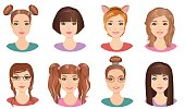 Set of girls, teenagers, young adults with different hairstyles and color