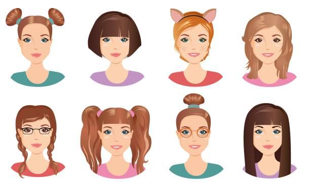 ilustraciones, imágenes clip art, dibujos animados e iconos de stock de diferentes peinado - cabello castaño